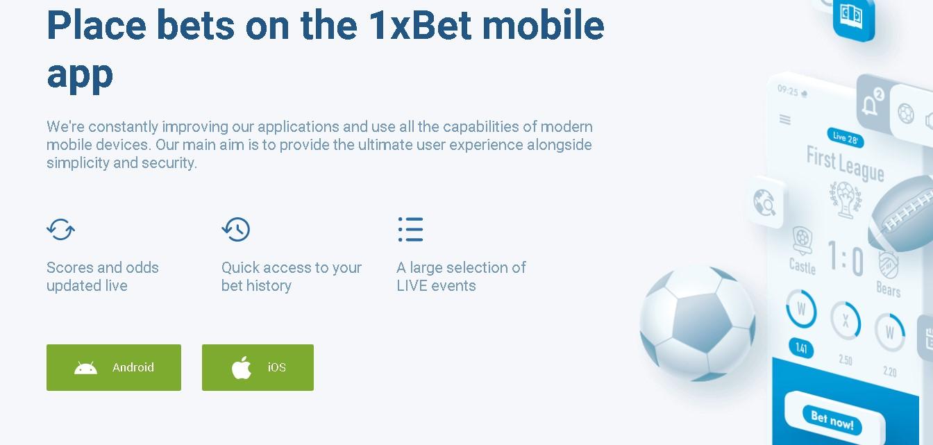 1xBet app benefits