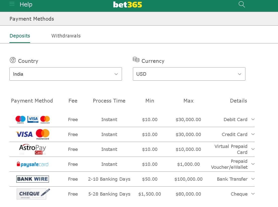 Bet365 deposit