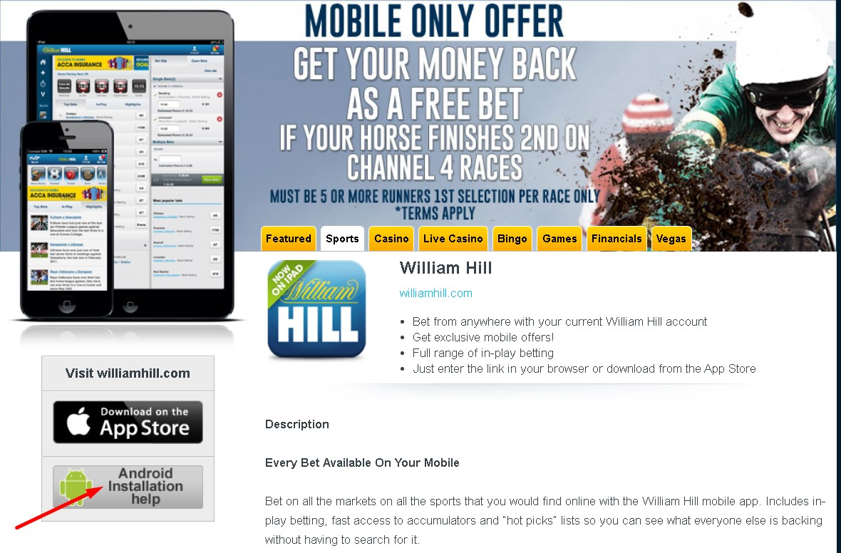 William Hill download for Android